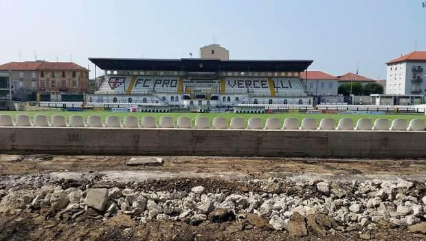 Proseguono i lavori allo stadio Piola (Foto FC Pro Vercelli)