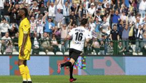 Sprocati esulta dopo il gol al Livorno (Foto Ivan Benedetto)