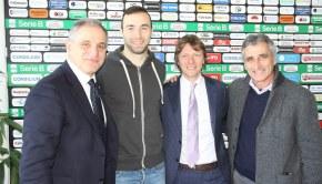 I giornalisti Nosotti e Alciato con Ettore Marchi e mister Foscarini (Foto Magica Pro)