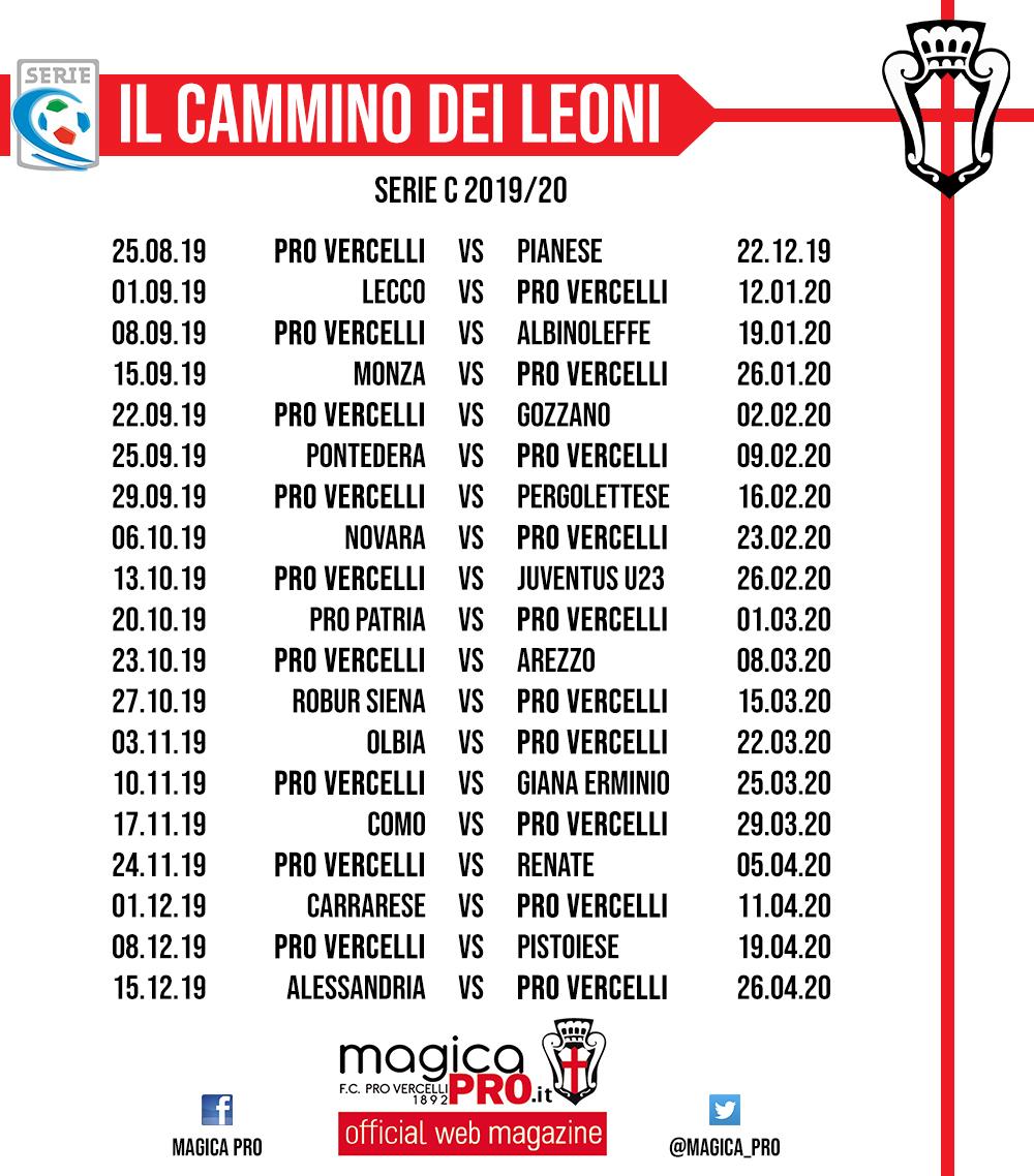 Calendario Serie C 2020 20.Pro Vercelli Ecco Il Calendario 2019 2020 Di Serie C